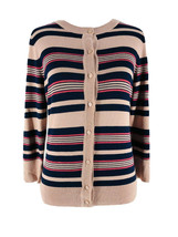 Halogen Women's Brown & Pink Striped Cardigan Sweater Size Small Petite NEW - $24.75