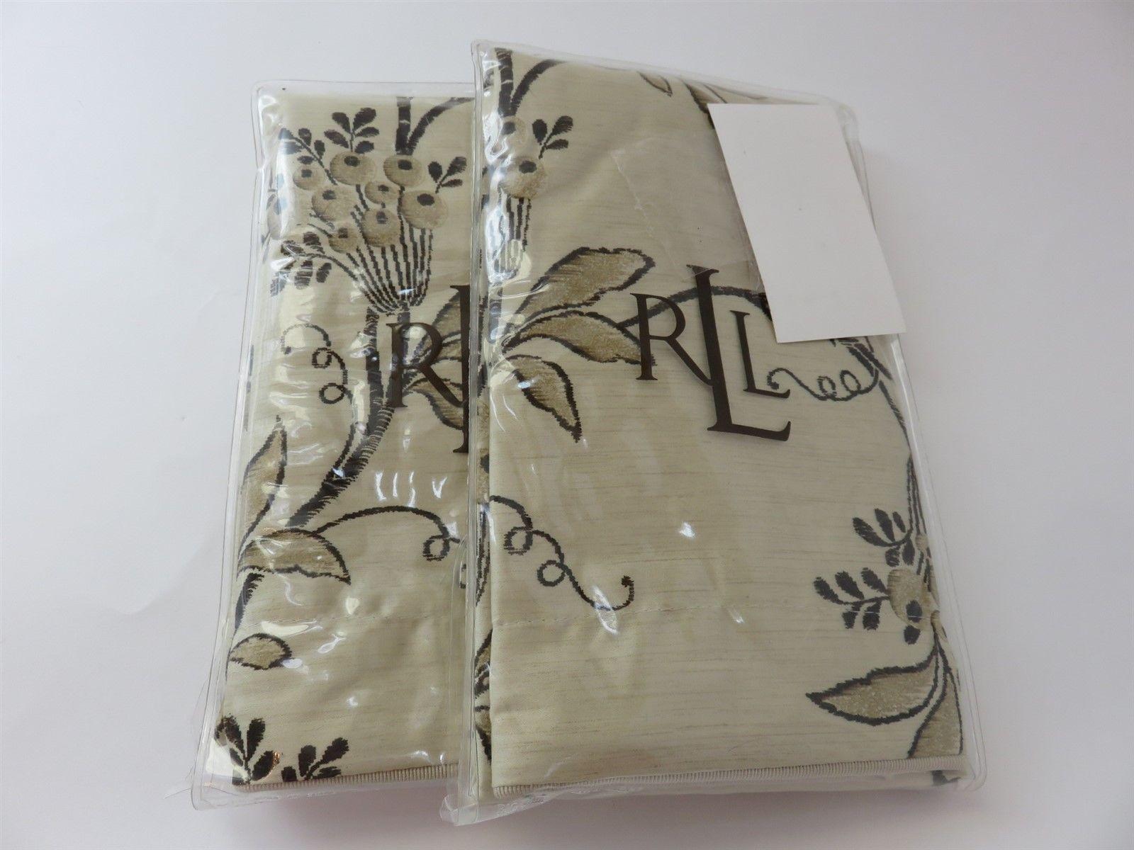 Ralph Lauren Port Palace EURO Pillow Shams Pair  Black and White Floral