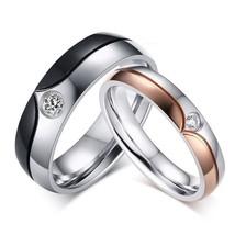 2PCS Royal Style Titanium Steel Couple Promise Matching Wedding Engageme... - $362,43 MXN