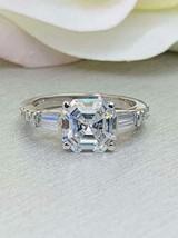 Asscher Cut Diamond Three Stone 925 sterling silver Engagement wedding W... - $85.00
