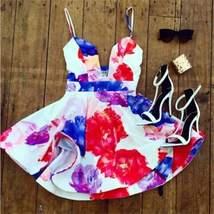 Fit and Flare Women Spaghetti Strap Floral Mini Dress - $29.00