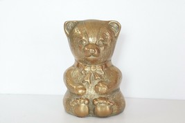 Vintage Brass Teddy Bear Bank piggy nursery Patina VTG baby room decor - $14.84