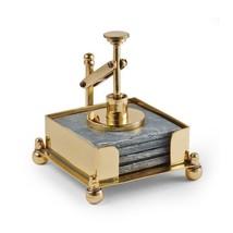 Hurricane Card Press Coaster Set Brass with Slate Coasters - Postal Scales - $119.00