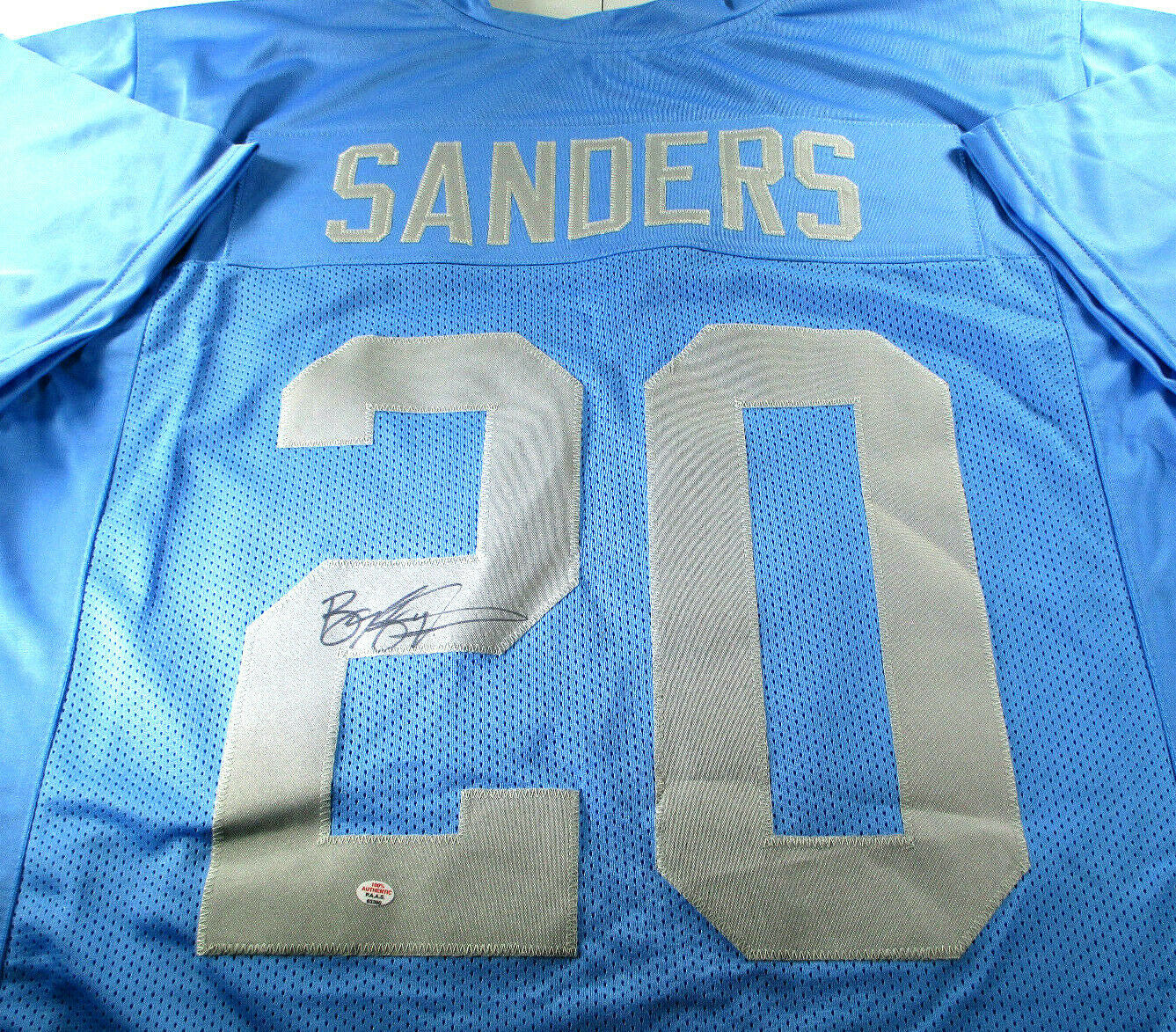 BARRY SANDERS / NFL HALL OF FAME / AUTOGRAPHED DETROIT LIONS CUSTOM JERSEY / COA