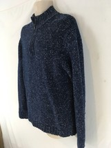 J Crew Mens L Blue Heather Wool Cotton Nylon Half Zip Pullover Sweater - $19.80