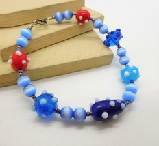 Retro Blue White Red Art Glass Bead Bracelet AA18 - $4.94