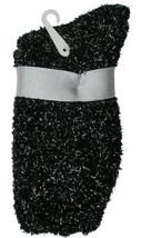 Charter Club Women's 1-Pair Metallic Black Silver Fuzzy Cozy Socks Sz 9-11 NEW image 2