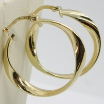 Yellow Gold Earrings 750 18K Circles Wavy Transparencies Made in Italy - $227.54
