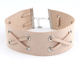 Leather Beige Bib Choker Necklace Ribbon Knotted Suede Everyday Fashion ... - $22.49