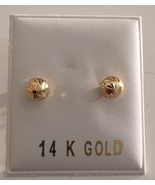 14kt Solid Yellow Gold Etched 4mm Ball Bead Screw Back Stud Post Earrings - $25.95