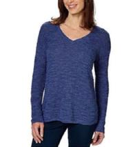 Calvin Klein Jeans BLUE Sweater Women's V Neck Long Sleeve SIZE XL - $13.30