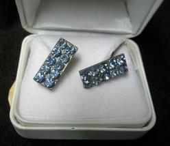 Fabulous Vintage Silver Tone Blue Rhinestone Cuff Links Cufflinks - $24.74