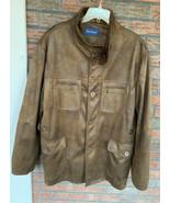 Paul Fredrick Faux Leather Jacket Fur Collar XL Long Sleeve Full Zip Button Coat - $49.00