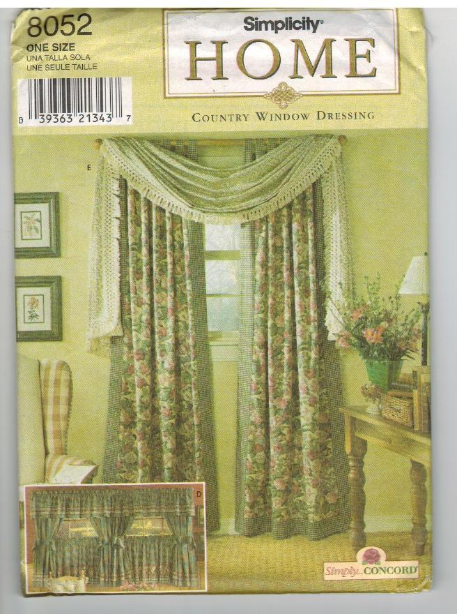Simplicity Uncut Sewing Pattern #8052 Country Window Dressing Curtains Drapes