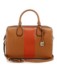 MICHAEL Michael Kors Studio Mercer Orange Center Stripe Brown Leather Duffel Bag - $185.00