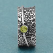 Celtic Knot 925 Silver Peridot Spinner Meditation Fidget Ring Size US-5 - $16.09