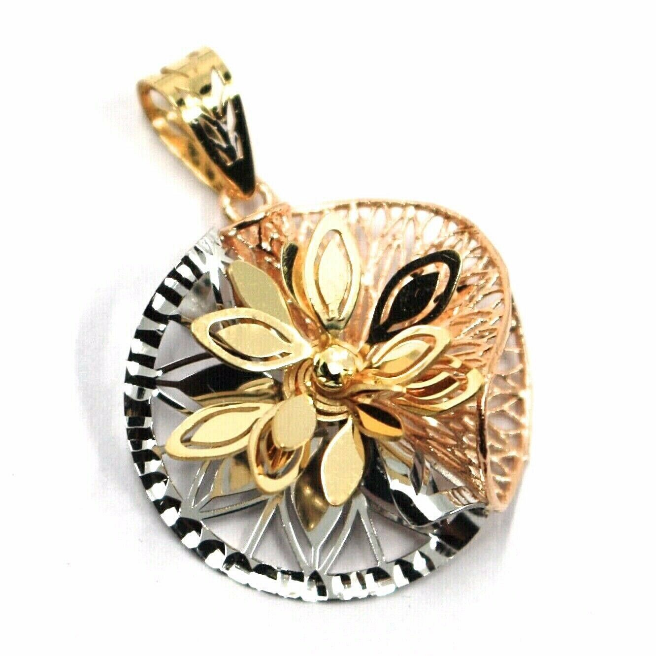 18K YELLOW WHITE ROSE GOLD FLOWER, ONDULATE, FINELY WORKED PETALS 2.2cm PENDANT