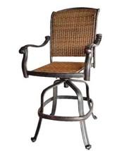Patio wicker bar stools with arms set of 6 Santa Clara cast aluminum Dark Bronze image 2