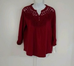 Style & Co Women's 3/4 Sleeve Split Neck Embroidered Plum Tart Wine Knit... - $35.06