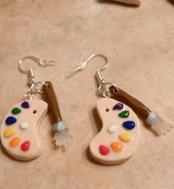 Unique Paint Palette/Paintbrush Charm Earrings Silver Wire Clay Hobby Ch... - $6.00