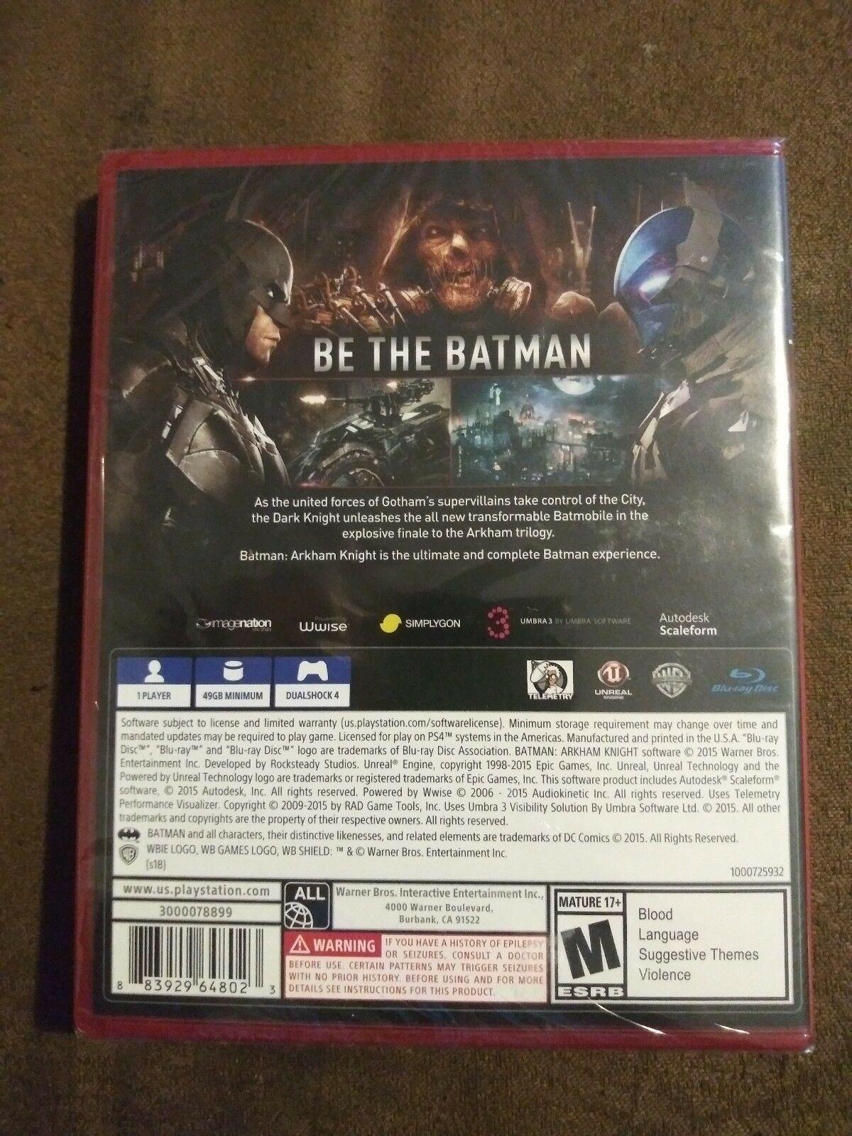 Batman Arkham Knight (Sony PlayStation 4, 2018) PS4 Playstation Hits Rated M NIP
