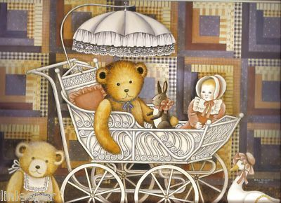 1987 LANG Teddys and Toys Wall Calendar with 12  illustrations by Nina Showers