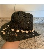 OARSMAN CHARCOAL NAVY BLUE Raffia Straw Hat Sea Shell Band Beach Sun - $29.65