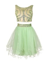 Short Two Piece Prom Dresses 2017 Cheap Tulle Beaded Homecoming Party Dr... - $132.00