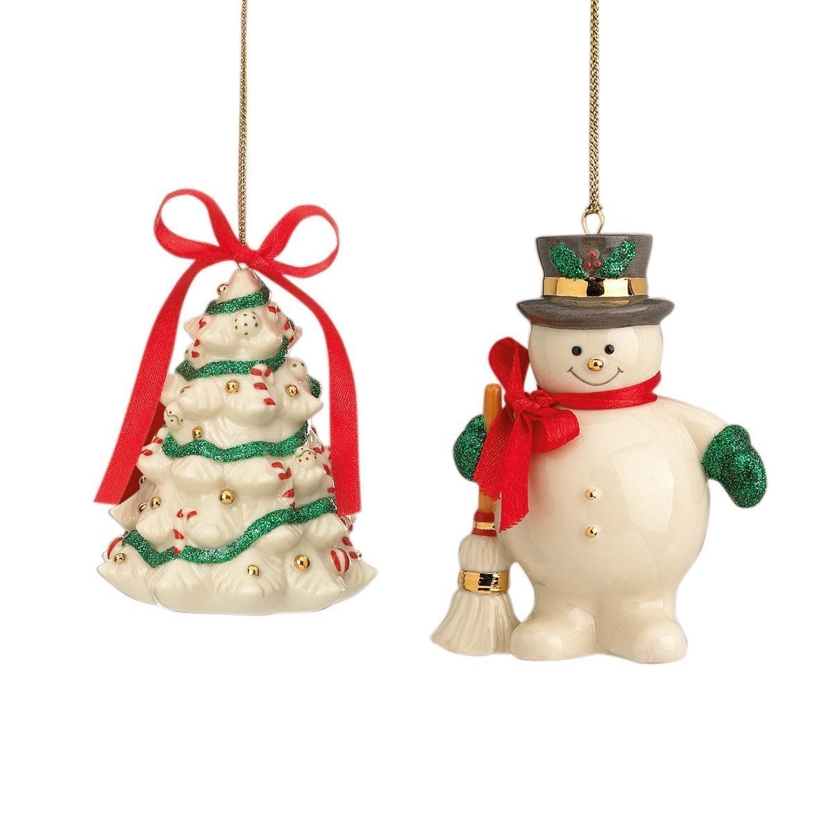 Lenox Holiday Ribbon Christmas Ornaments Snowman & Tree Set of 2  NEW
