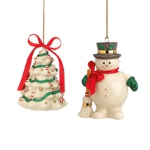 Lenox Holiday Ribbon Christmas Ornaments Snowman & Tree Set of 2  NEW - $27.99