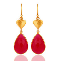Pear Shaped Pink Chalcedony 18K Gold Plated Silver Heart Design Earrings - $23.76