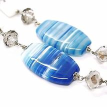Necklace Silver 925, Agate Blue Banded Oval Big, Agate White, Long 90 CM image 4