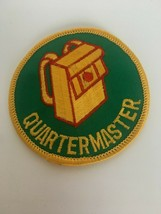 Quartermaster Postion Patch Boy Scouts Green Background Yellow Bag Round Vintage - $4.25