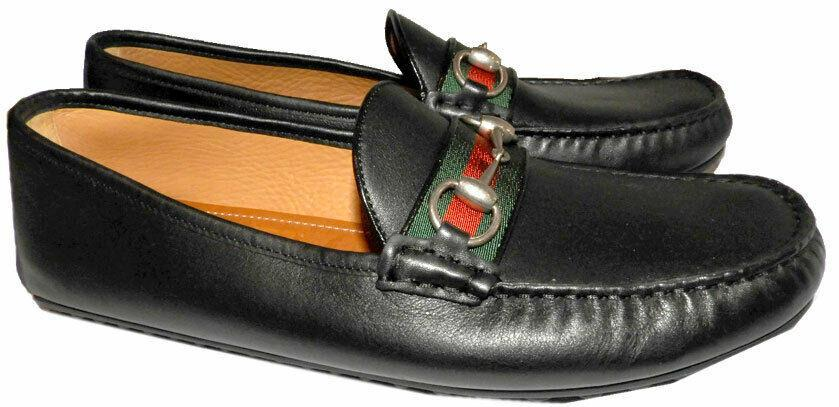 3e132ddbd38 GUCCI Black Leather Loafers Web   Horsebit Moccasin Driving Shoes 9 Uk- 10  Us -  299.00