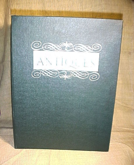 """Binder for The Magazine Antiques-13""""x 9.5;Green;gold Letters;11 wire rod holders"""