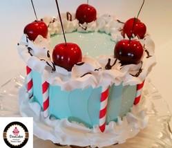 "Turquoise & Red Retro Cherry Cake 6"" Faux Cake-  fake for home decor Non... - $26.72"