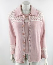 Storybook Knits Sweater Twinset Sz Small Pink Cardigan & Shell Buttons P... - $53.46