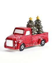 Festive Truck w Tree Design Salt & Pepper Shaker Set Shakers Ceramic image 1