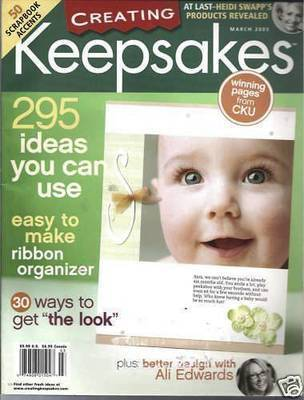 Creating Keepsakes Magazine March 2005-50 Scrapbook Accents;RIBBON ORGANIZER;IDE