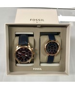 New FOSSIL BQ2186SET Navy Blue Genuine Leather - Men Women Couple Watch ... - $245.00