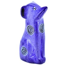 Vaneal Group Hand Carved Kisii Soapstone Dark Blue Puppy Dog Miniature Figurine