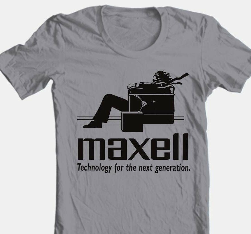 Maxell speakers T-shirt Logo retro 1980's Blown Away Man 100% cotton graphic tee
