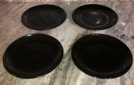 "Royal Norfolk Black 7 1/2""Stoneware Dinnerware Saucer Plates Set Of 4-NE... - $29.58"