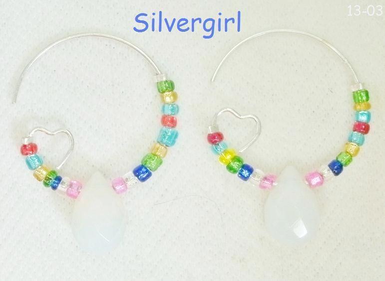 Multi colored opal tear hoop earrings sp