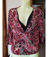 floral top flower blouse red & black womens size XL 3/4 sleeve V neck shirt - $4.99