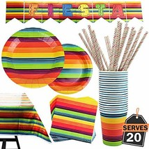 102 Piece Fiesta Party Supplies Set Including Banner, Plates, Cups, Napk... - $26.32