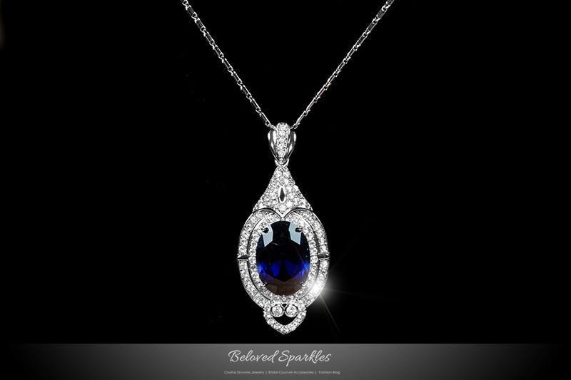 Ire blue oval cut pendant necklace celebrity red carpet wedding bridal beloved sparkles boutique