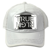 NEW TRUE RELIGION MEN'S PREMIUM SILVER METAL LOGO TRUCKER HAT CAP WHITE TR1965