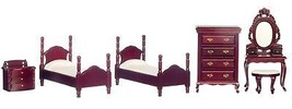 Dollhouse Miniature Single Bedroom Set, 6 pc, Mahogany Finish #T3669 - $58.29