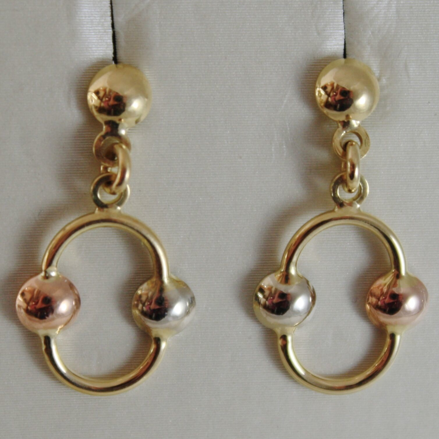 18K YELLOW, ROSE, WHITE GOLD PENDANT OVAL EARRINGS, BALLS BRIGHT MADE IN ITALY